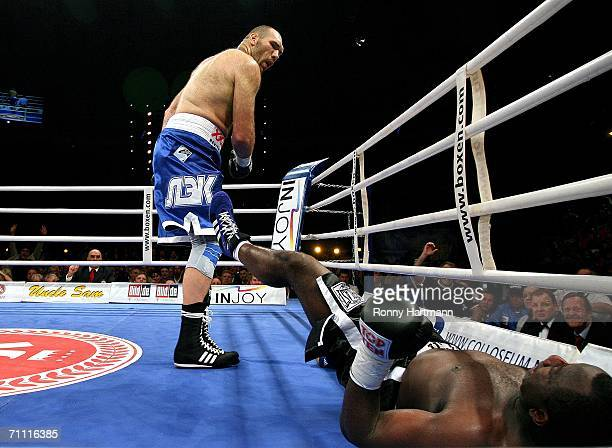 Nikolay Valuev of Russia fights against Owen Beck of Jamaica during the WBA World Heavyweight Championship fight at the Tui Arena on June 3 2006 in...