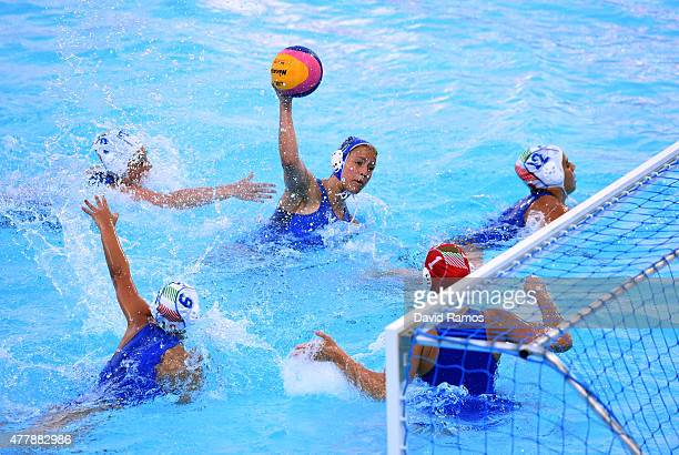 Nikoleta Eletheriadou of Greece scores a goal during the Women's Waterpolo bronze medal match between Italy and Greece on day eight of the Baku 2015...