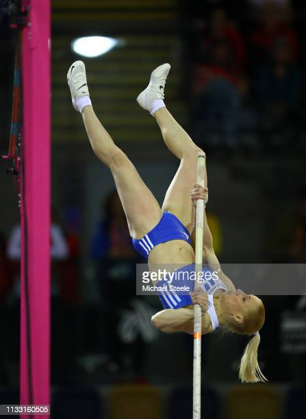 Nikoleta Kiriakopoulou of Greece competes during the Womens Pole Vault during the 2019 European Athletics Indoor Championships Day Two at the...