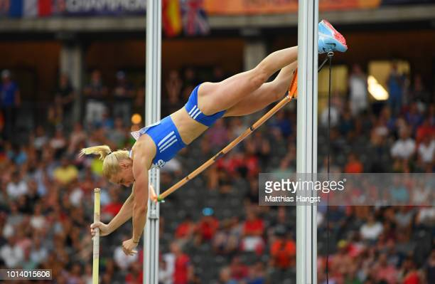 Nikoleta Kiriakopoulou of Greece competes in the Women's Pole Vault Final during day three of the 24th European Athletics Championships at...