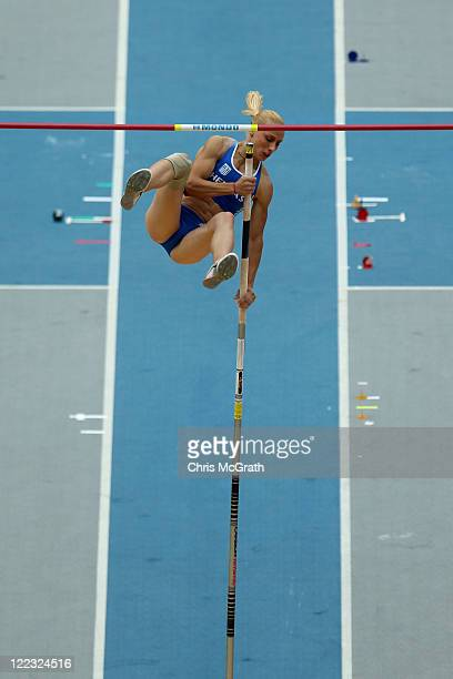 Nikoleta Kiriakopoulou of Greece competes in the women's pole vault qualification round during day two of the 13th IAAF World Athletics Championships...