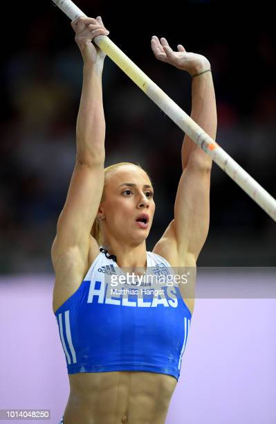 Nikoleta Kiriakopoulou of Greece prepares to compete in the Women's Pole Vault Final during day three of the 24th European Athletics Championships at...