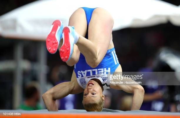 Nikoleta Kiriakopoulou of Greece reacts as she competes in the Women's Pole Vault Final during day three of the 24th European Athletics Championships...
