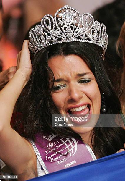 Nikoletta Ralli from Greece reacts after she won the Miss Tourism Queen International 2005 World Final on July 2 2005 in Hangzhou of Zhejiang China...