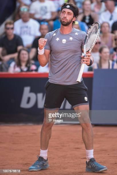 Nikoloz Basilashvili gestures during the German Tennis Championships at Rothenbaum on July 24 2018 in Hamburg Germany