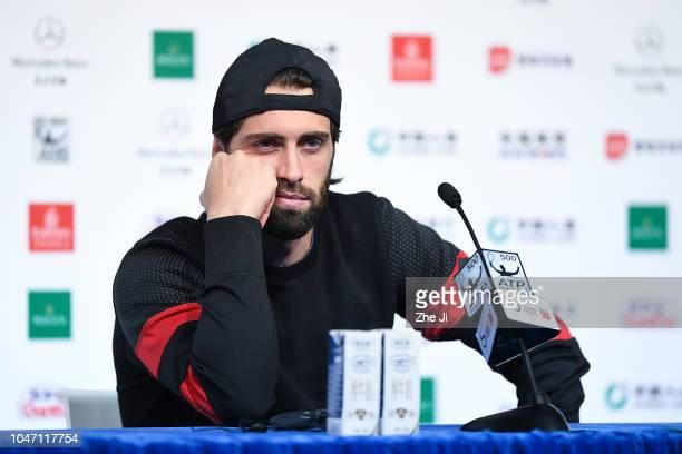 Nikoloz Basilashvili of Georgia attends a press conference after winning Juan Martin Del Potro of Argentina during his Men's Singles Finals match in...