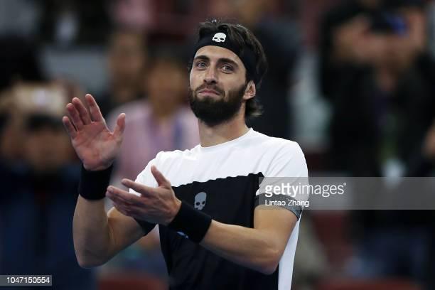 Nikoloz Basilashvili of Georgia celebrates after winning his Men's Singles Finals match against Juan Martin Del Potro of Argentina in the 2018 China...