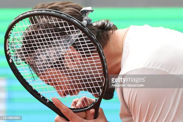 Nikoloz Basilashvili of Georgia celebrates victory after winning his finale match against Jan-Lennard Struff of Germany on day 9 of the BMW Open at...