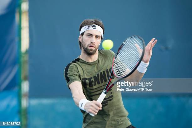 Nikoloz Basilashvili of Georgia during practice at the Delray Beach Open on February 20 2017 in Delray Beach USA