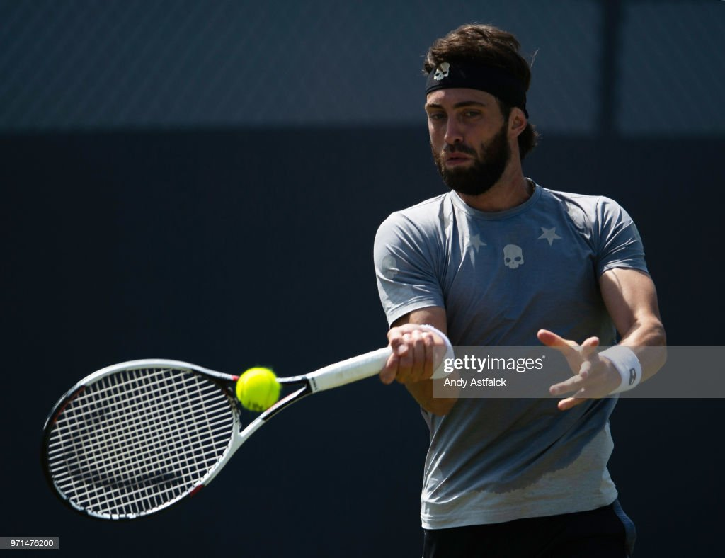 Nikoloz Basilashvili of Georgia in action against Yuichi Sugita of Japan on day Day One of the Libema Open 2018 on June 11, 2018 in Rosmalen, Netherlands.