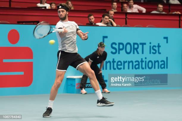 Nikoloz Basilashvili of Georgia in action during the round of 32 match between Nikoloz Basilashvili of Georgia and Kevin Anderson of South Africa on...