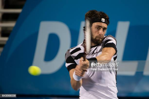 Nikoloz Basilashvili of Georgia in winning action againstTommy Haas of Germany at the Delray Beach Open on February 21 2017 in Delray Beach USA