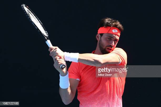 Nikoloz Basilashvili of Georgia plays a backhand in his first round match against Christopher Eubanks of the United States during day one of the 2019...