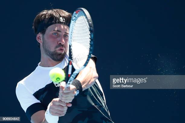 Nikoloz Basilashvili of Georgia plays a backhand in his third round match against Kyle Edmund of Great Britain on day five of the 2018 Australian...