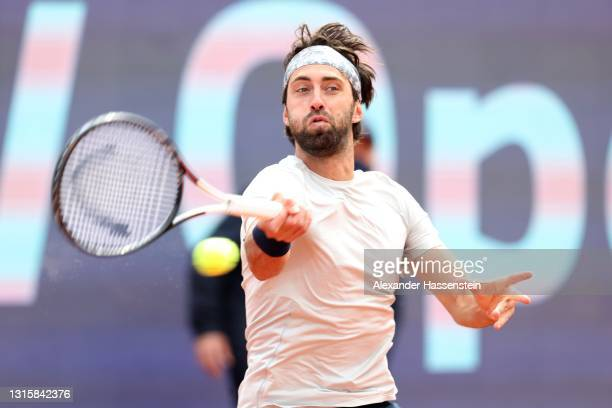 Nikoloz Basilashvili of Georgia plays a fore hand during his finale match against Jan-Lennard Struff of Germany on day 9 of the BMW Open at MTTC...