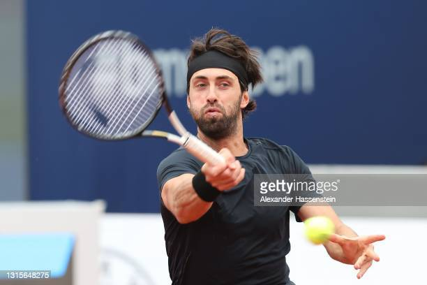 Nikoloz Basilashvili of Georgia plays a fore hand during his semi final match against Casper Ruud of Norway on day 8 of the BMW Open at MTTC IPHITOS...