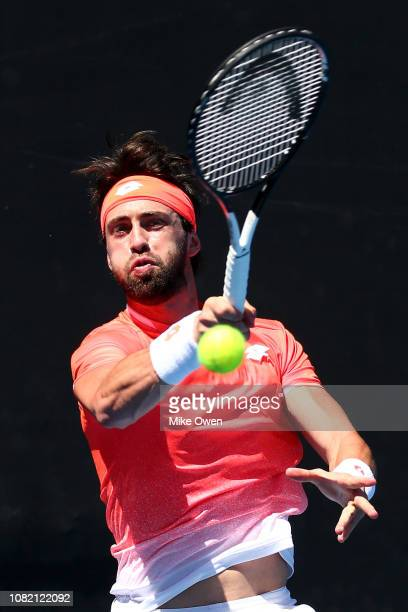 Nikoloz Basilashvili of Georgia plays a forehand in his first round match against Christopher Eubanks of the United States during day one of the 2019...