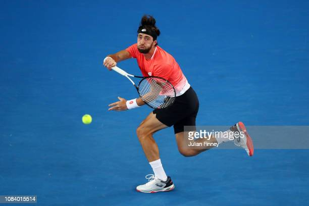 Nikoloz Basilashvili of Georgia plays a forehand in his third round match against Stefanos Tsitsipas of Greece during day five of the 2019 Australian...