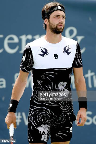Nikoloz Basilashvili of Georgia plays Jared Donaldson during day 6 of the Western Southern Open at the Lindner Family Tennis Center on August 17 2017...