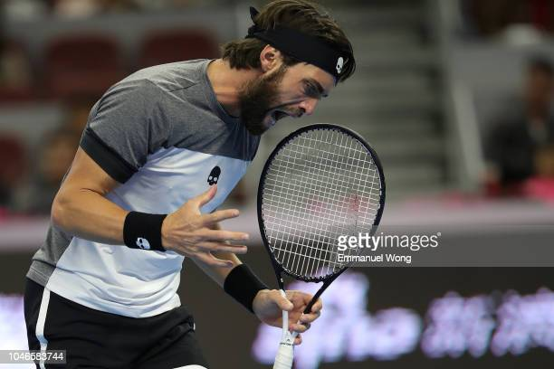 Nikoloz Basilashvili of Georgia reacts during the Men's Single Semifinal Match against Kyle Edmund of Great Britain on day 8 of 2018 China Open at...