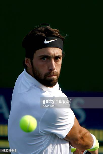 Nikoloz Basilashvili of Georgia returns a shot to Austin Krajicek of United States during during his match on day 1 of Shanghai Rolex Masters 2015 at...
