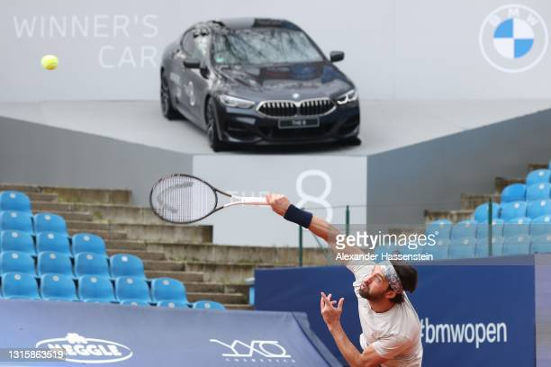 Nikoloz Basilashvili of Georgia serves during his finale match against Jan-Lennard Struff of Germany on day 9 of the BMW Open at MTTC IPHITOS on May...
