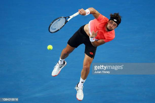 Nikoloz Basilashvili of Georgia serves in his third round match against Stefanos Tsitsipas of Greece during day five of the 2019 Australian Open at...