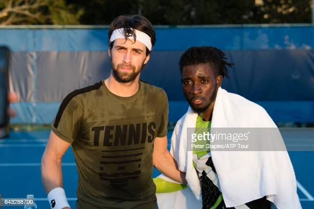 Nikoloz Basilashvili of Georgia with fans after practice at the Delray Beach Open on February 20 2017 in Delray Beach USA