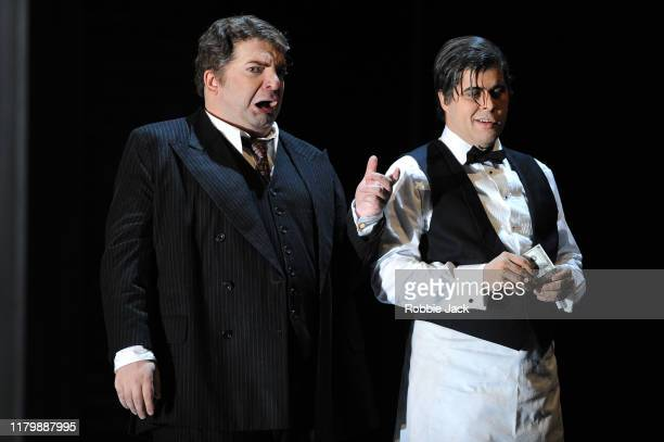 Nikoloz Lagvilava as Rigoletto and Oleg Budaratskiy as Sparafucile in Giuseppe Verdi's Rigoletto directed by Christiane Lutz and conducted by Thomas...