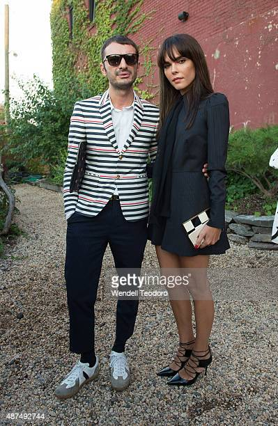 Nikoloz Makhatadze and blogger Evangelie Smyrniotaki attend the Rachel Comey show at Pioneer Works on September 9 2015 in the Brooklyn borough of New...