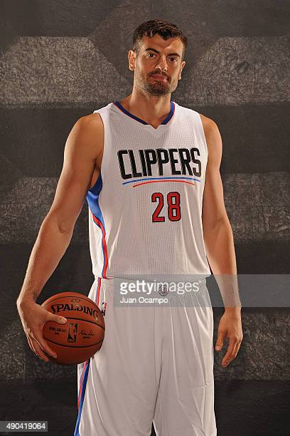 Nikoloz Tskitishvili of the Los Angeles Clippers poses for a portrait during media day at the Los Angeles Clippers Training Center on September 25...