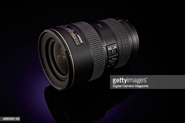 A Nikon AFS 1635mm F/4G ED VR fullframe SLR lens photographed on a purple background taken on May 22 2013