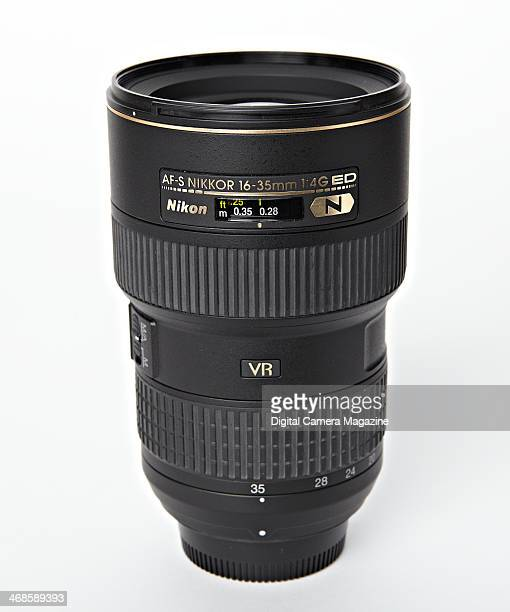 A Nikon AFS 1635mm F/4G ED VR fullframe SLR lens photographed on a white background taken on May 22 2013