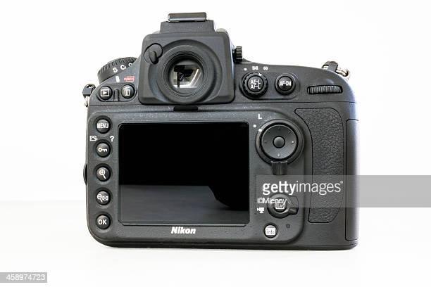 nikon d800 digital slr camera rear view - nikon stock pictures, royalty-free photos & images