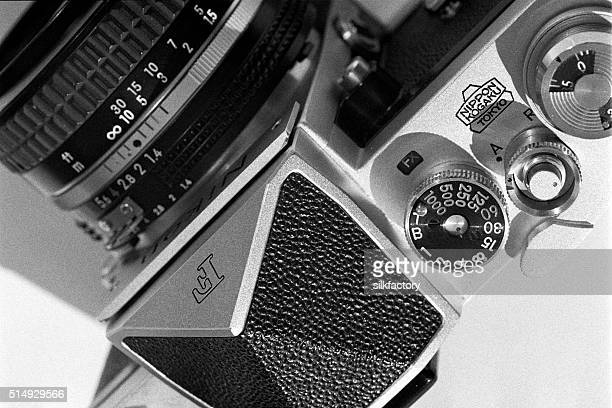 nikon f camera from 1966 in black and white - photographic film camera stock photos and pictures