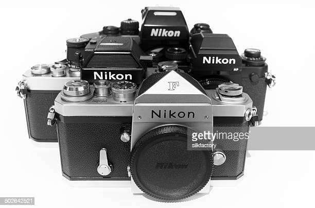 nikon f, nikon f2as photomic, nikon f3hp and nikon f4 - nikon stock pictures, royalty-free photos & images