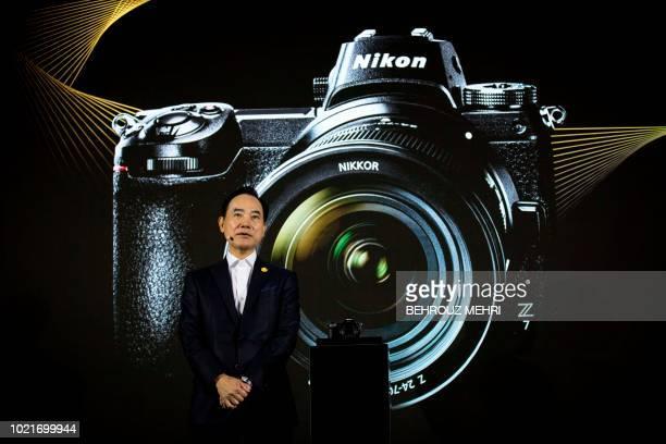 Nikon president Kazuo Ushida unveils the fullframe mirrorless Nikon Z7 camera during an event unveiling Nikon's new Z series cameras and Z mount lens...