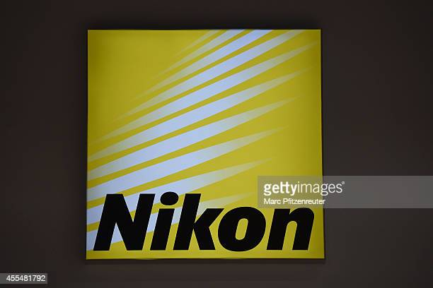 Nikon promotion sign at the Nikon booth of the Photokina 2014 trade fair on promotion 15 2014 in Cologne Germany Photokina is the world's largest...