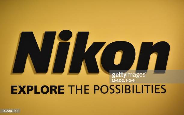 A Nikon sign is displayed during the Consumer Electronics Show 2018 at the Las Vegas Convention Center in Las Vegas Nevada on January 12 2018