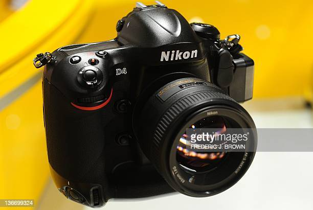 Nikon's flagship D4 DSLR camera is displayed on the opening day of the International Consumer Electronics Show on January 10 2012 in Las Vegas Nevada...