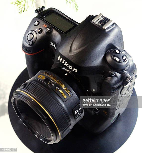 """Nikon's latest flagship camera, Nikon D4s is displayed at the Nikon booth during """"CP+2014,"""" camera and photo imaging show in Yokohama on February 13,..."""
