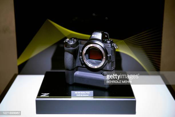 Nikon's new fullframe mirrorless Z7 camera is displayed during an event unveiling the company's new Z series cameras and Z mount lens system in Tokyo...