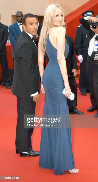 Nikos Aliagas and Adriana Karembeu during 2005 Cannes Film Festival Where the Truth Lies Premiere at Palais des Festival in Cannes France