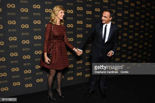 Nikos Aliagas and his companion Tina Grigoriou attend GQ Men Of The Year Awards 2017 at Le Trianon on November 15 2017 in Paris France
