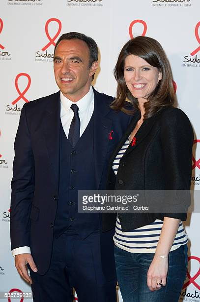Nikos Aliagas and Magali Lunel attend the Sidaction 2012 Press Conference at Musee du quai Branly in Paris