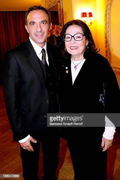 Nikos Aliagas and Nana Mouskouri attend the 50th Anniversary party of Stephane Bern called Half a century it's party celebrated at Angelina on...