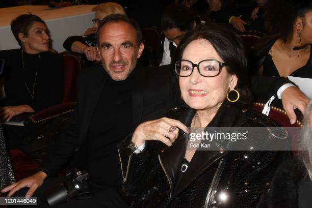 Nikos Aliagas and Nana Mouskouri attend the JeanPaul Gaultier Haute Couture Spring/Summer 2020 show as part of Paris Fashion Week at Theatre Du...