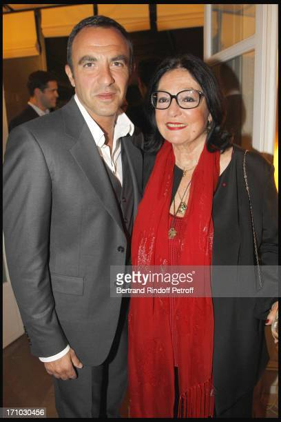 Nikos Aliagas Nana Mouskouri at Stephane Bern Is Honoured At His Paris Home With The Title Of Officier De L'Ordre Des Arts Et Lettres By The Culture...