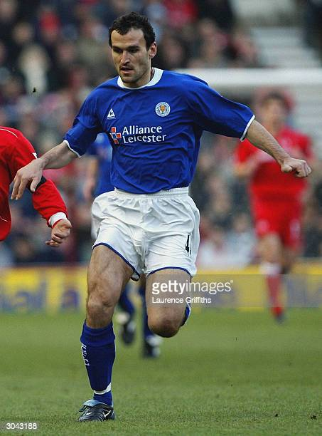 Nikos Dabizas of Leicester City chases the ball during the FA Barclaycard Premiership match between Middlesbrough and Leicester City on January 17...