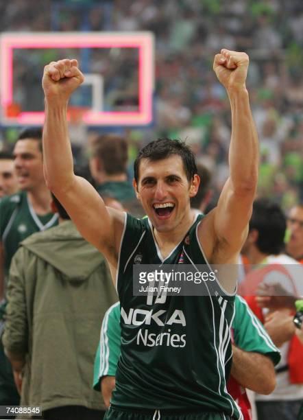 Nikos Hatzivrettas of Panathinaikos celebrates after defeating CSKA Moscow during the EuroLeague Final match between Panathinaikos and CSKA Moscow at...